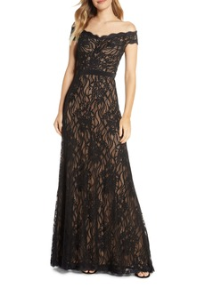 Tadashi Shoji Off the Shoulder Lace Evening Gown