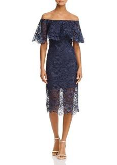 Tadashi Shoji Off-the-Shoulder Lace Flounce Dress