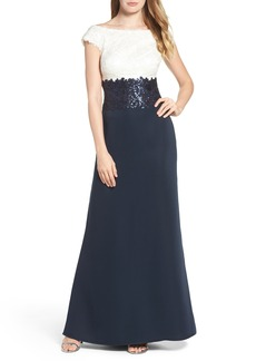 Tadashi Shoji Off the Shoulder Lace Gown (Regular & Petite)
