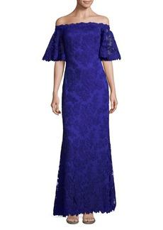 Tadashi Shoji Off-the-Shoulder Lace Trumpet Gown
