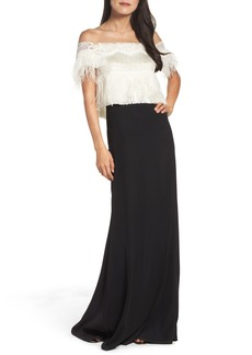 Tadashi Shoji Off the Shoulder Ostrich Feather Gown