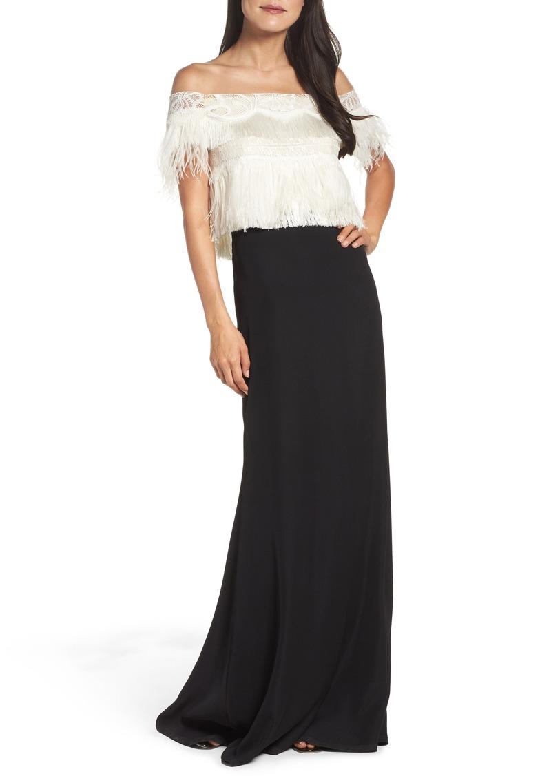 Tadashi Tadashi Shoji Off the Shoulder Ostrich Feather Gown | Dresses