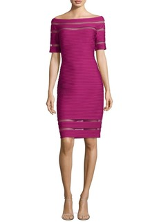 Tadashi Shoji Off-The-Shoulder Pintuck Dress