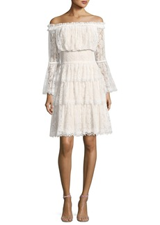 Tadashi Shoji Off-the-Shoulder Tiered Lace Cocktail Dress