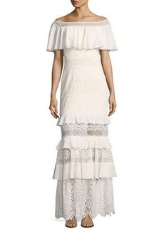 Tadashi Shoji Off-the-Shoulder Tiered Lace Column Gown