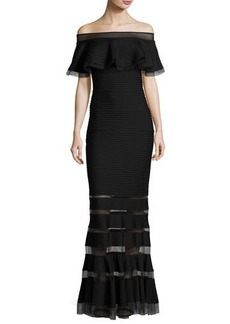 Tadashi Shoji Off-the-Shoulder Trapunto Evening Gown