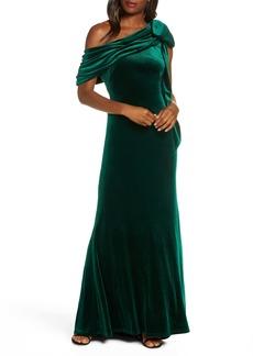 Tadashi Shoji One-Shoulder Bow Velvet Gown