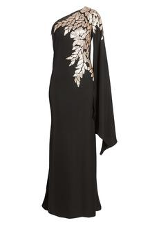 Tadashi Shoji One-Shoulder Cape Sleeve Crepe Gown
