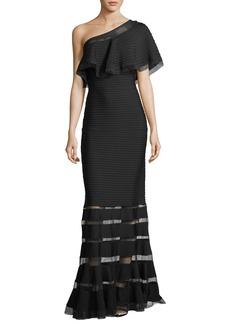 Tadashi Shoji One-Shoulder Pleated Evening Gown