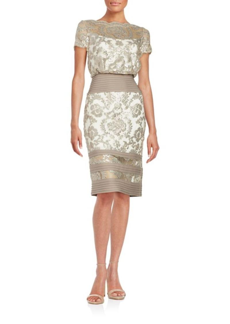 Shoji Paillette Embroidered Lace Blouson Dress