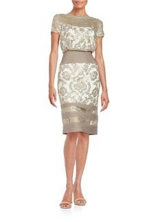 TADASHI SHOJI Paillette Embroidered Lace Blouson Dress