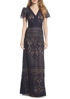 Tadashi Shoji Pintuck Detail Lace Gown