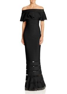 Tadashi Shoji Pintucked Off-the-Shoulder Gown