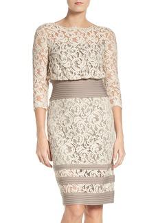 Tadashi Shoji Pleat Waist Lace Blouson Dress