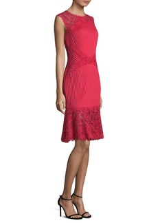 Tadashi Pleated Lace Dress