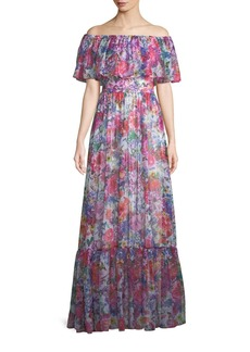 Tadashi Pleated Off-the-Shoulder Chiffon Gown
