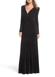 Tadashi Shoji Plunge Burnout Gown