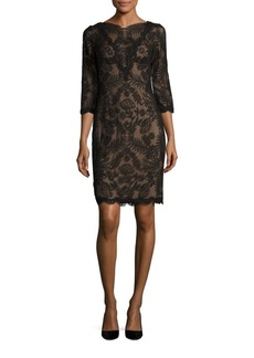 Tadashi Plus Floral Embroidered Three Quarter Sleeve Sheath Dress