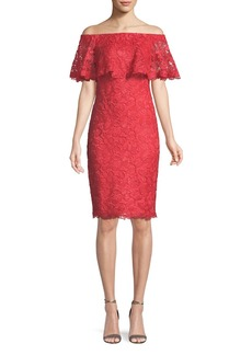 Tadashi Popover Lace Ruffle Off-the-Shoulder Dress