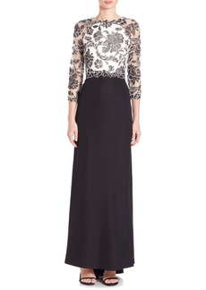 Tadashi Quarter Sleeves Floral Lace Gown