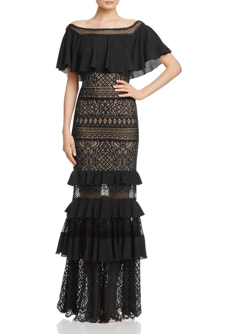 SALE! Tadashi Tadashi Shoji Ruffle & Lace Gown
