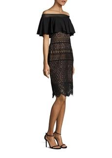 Tadashi Shoji Ruffled Lace Off-The-Shoulder Dress