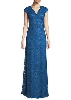 Tadashi Scalloped Lace Evening Dress