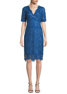 Tadashi Scalloped V-Neck Lace Cocktail Dress