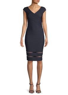 Tadashi Seamed Illusion-Hem Bodycon Dress
