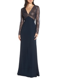 Tadashi Shoji Sequin & Crepe Long Sleeve Evening Dress