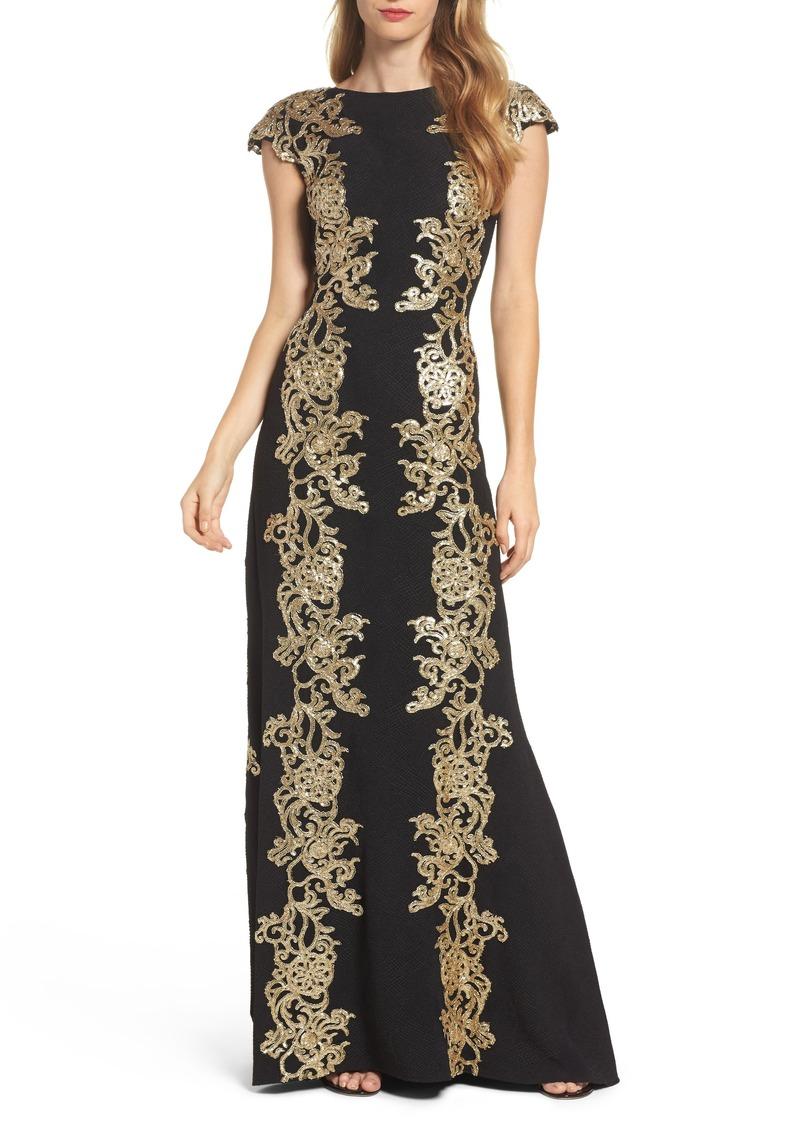 Tadashi Tadashi Shoji Sequin Appliqué Textured Crepe Gown | Dresses