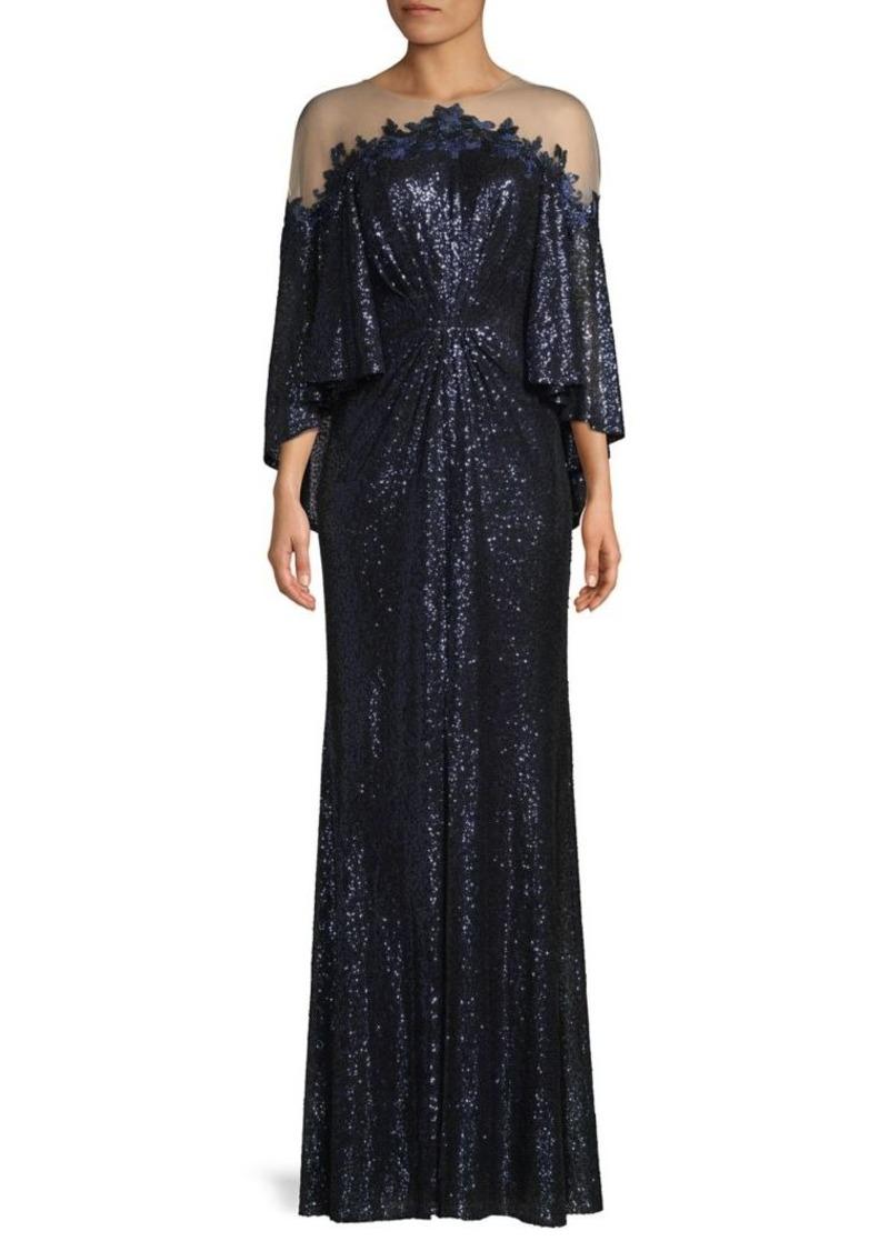 Tadashi Shoji Sequin Cape-Sleeve Gown