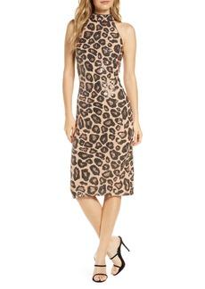 Tadashi Shoji Sequin Cheetah Pattern Cocktail Dress