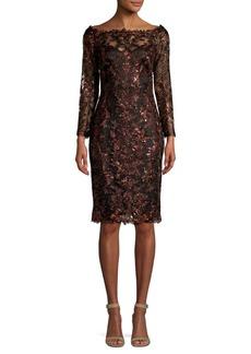 Tadashi Shoji Sequin-Embellished Lace Sheath Dress