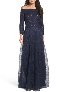 Tadashi Shoji Sequin Embroidered Tulle Off the Shoulder Gown