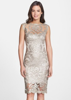 Tadashi Shoji Sequin Illusion Lace Dress (Regular & Petite)