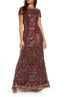 Tadashi Shoji Sequin Illusion Off the Shoulder Evening Gown