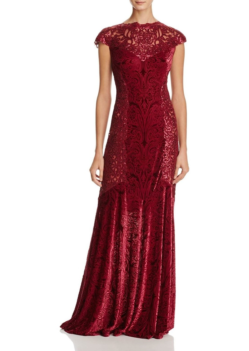 Tadashi Tadashi Shoji Sequin Lace & Burnout Velvet Gown | Dresses