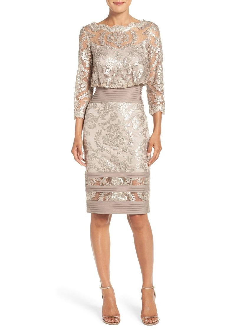 Tadashi Shoji Sequin Lace Blouson Dress