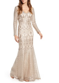 Tadashi Shoji Sequin Lace Long Sleeve Trumpet Gown