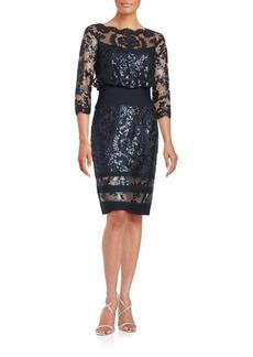 Tadashi Shoji Sequined Lace Blouson Dress