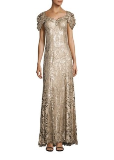 Tadashi Shoji Sequined Lace Off-Shoulder Sweetheart Gown