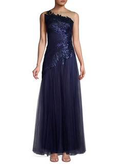 Tadashi Shoji Sequined Tulle Gown