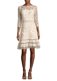 TADASHI SHOJI Sheer-Sleeve Embroidered Dress