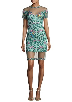 Tadashi Shoji Short-Sleeve Embroidered Mesh Cocktail Dress