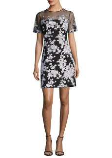 Tadashi Shoji Short-Sleeve Floral-Embroidered A-Line Dress