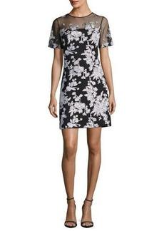 Tadashi Shoji Short-Sleeve Floral-Embroidered A-Line Dress