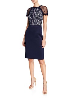 Tadashi Shoji Short-Sleeve Lace & Neoprene Cocktail Dress