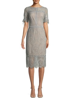 Tadashi Short-Sleeve Lace Sheath Dress