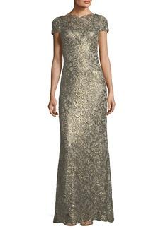 Tadashi Shoji Short-Sleeve Metallic V-Back Evening Gown